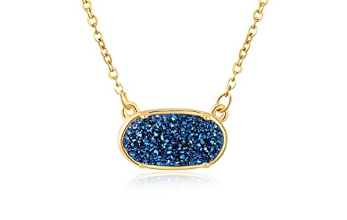 Ellena Rose Dainty Druzy Necklace, 100 Percent Natural Druzy, 14K Gold Plated Oval Druzy Pendant Necklace for Women, Druzy Necklaces for Women, Genuine Druzy Jewelry (Blue)
