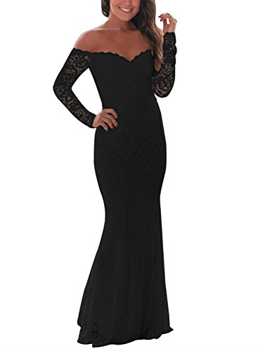 ZKESS Women's Crochet Lace Long Sleeve Off Shoulder Wedding Mermaid Dress Black Large Size