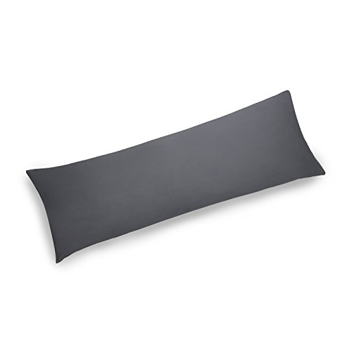 YAROO 21x48 Body Pillow Cover,Body Pillow Case,400 Thread Count,100% Egyptian Cotton,Envelope Closure,Solid,Dark Gray.