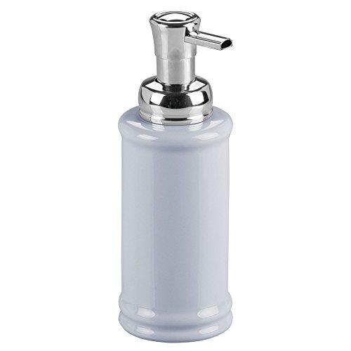 (InterDesign Hamilton Ceramic Foaming Soap Dispenser Pump for Kitchen and Bathroom Countertop - Slate Blue/Chrome)