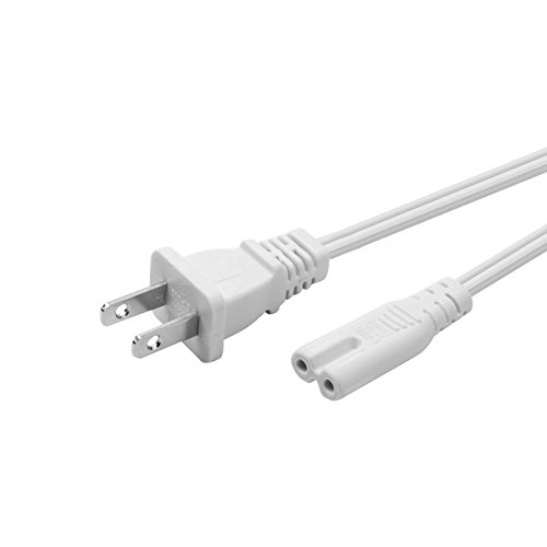 YEKELLA Universal 2 Prong Power Cord (1ft) - NEMA 1-15P to IEC320 C7 Figure 8 Shotgun Connector AC Power Cord Cable for Sony PlayStation 3 (PS3)/4 (PS4) Slim Edition (White)