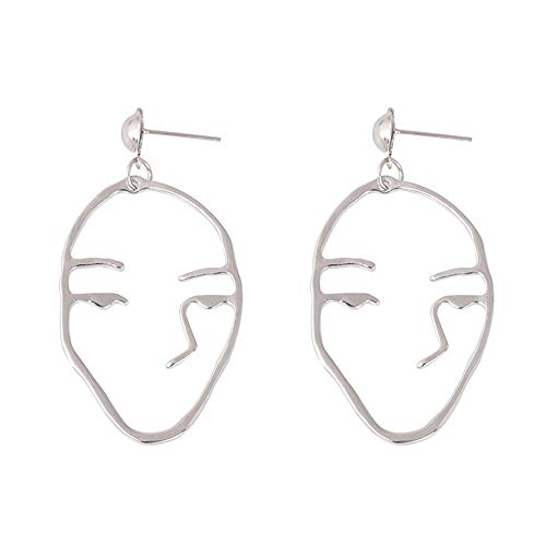 (1Pair Retro Art Abstract Cutout Face Dangle Drop Earrings Lady Hollow Jewelry)