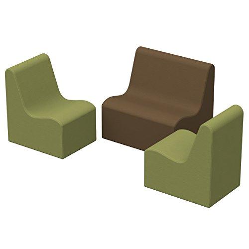 ECR4Kids SoftZone Pre-School Wave Seating - Play Foam Furniture for Kids - Earthtone (3-Piece Set)