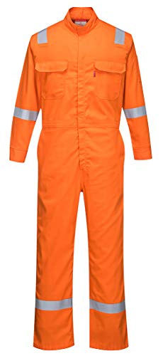 Portwest FR94 Bizflame 88/12 Iona Flame Resistant Long Sleeve Overall Fire Retardant Workwear Coverall, Orange, 5XL