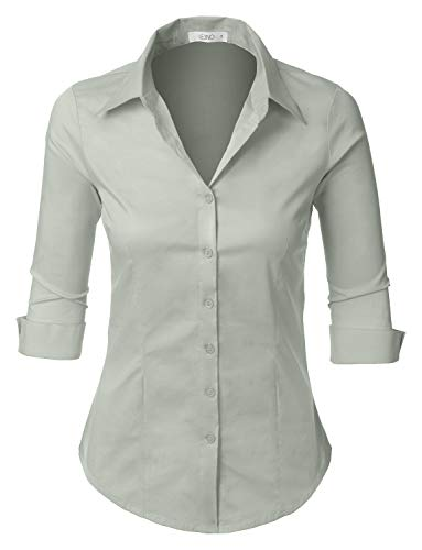 LE3NO Womens Roll Up 3/4 Sleeve Button Down Shirt with Stretch, L3NWT574A_LIGHTGRAY, XX-Large