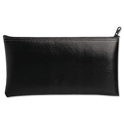 Leatherette Zippered Wallet, Leather-Like Vinyl, 11w x 6h, Black, Sold as 1 Each