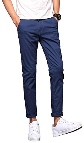 Plaid&Plain Men's Skinny Khaki Pants Slim Fit Chino Pants Navy Blue 27X28