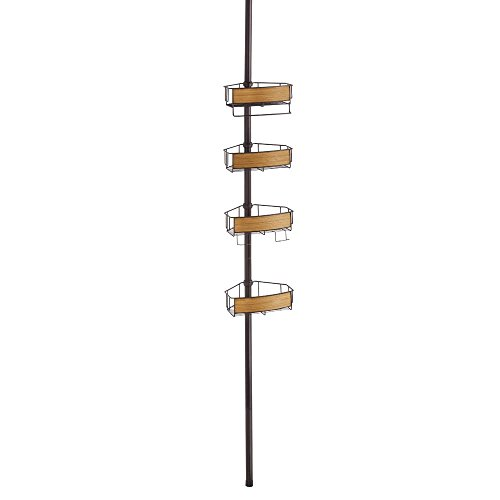 Constant Tension Shower Caddy - Bathroom Storage Shelves for Shampoo, Conditioner and Soap, Bronze/Teak Finish ()