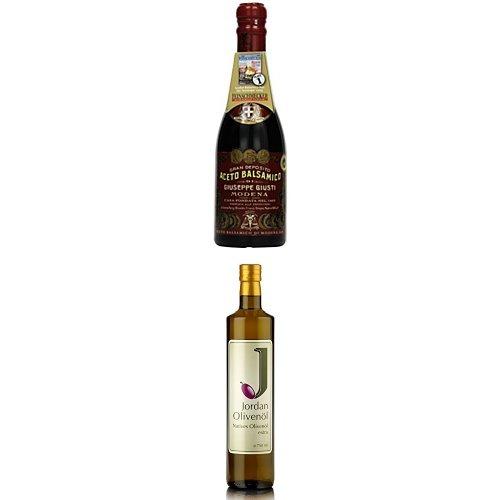 Essig und Öl für Feinschmecker - Giuseppe Giusti Aceto Balsamico Giusti Il Denso, 1er Pack (1 x 250 ml) + Jordan Olivenöl Natives extra - 0.75 L Flasche, 1er Pack (1 x 750 ml)
