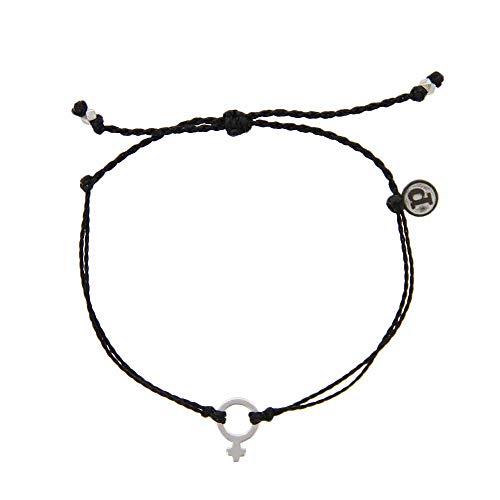 Pura Vida Silver Femme Black Bracelet - Iron-Plated Charm, Adjustable Band - 100% Waterproof from Pura Vida