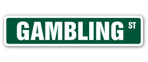 ([SignJoker] GAMBLING Street Sign lover blackjack craps roulette 21 Vegas casino slot machine Wall Plaque Decoration)