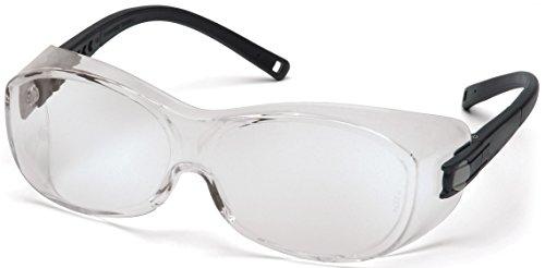 Pyramex OTS XL Safety Eyewear, Black Temples, Clear Anti-Fog Lens