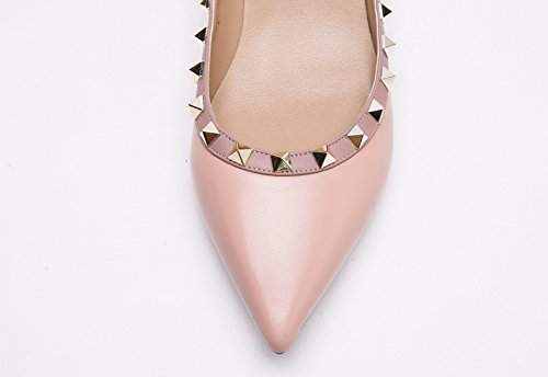 Pan Matte Ballerina Pastel Toe Kaitlyn Leather Nude Pink Gold Pointed Studs Studded Trim Flats Hdzqgw