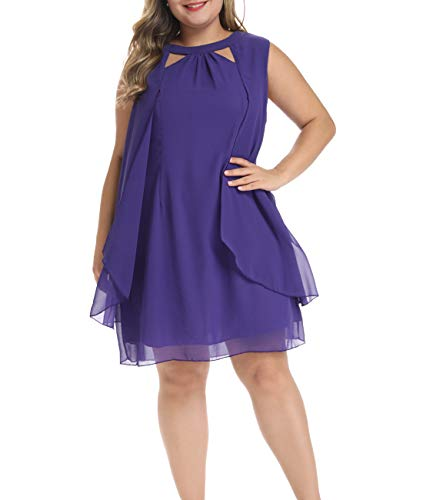 (Lalagen Womens Summer Chiffon Sleeveless Plus Size Cocktail Party Knee Length Dress Purple XL)