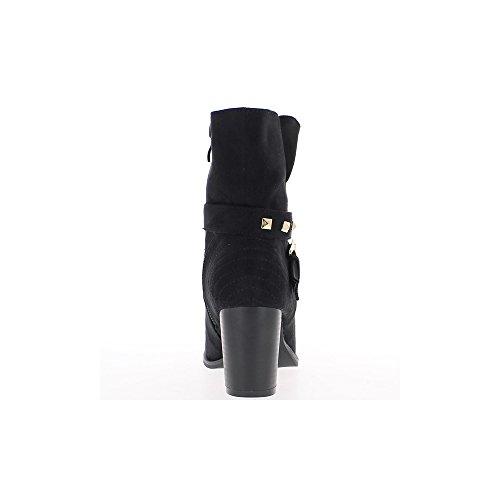 Bottines femme noires à talon de 7cm et bride cloutée