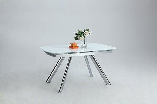 Milan DT Aliyana White/Chrome Self-Storing Extension Dining Table