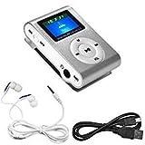 (Silver) Mini USB Clip MP3 Player LCD Screen Supports 32GB Micro SD TF Card