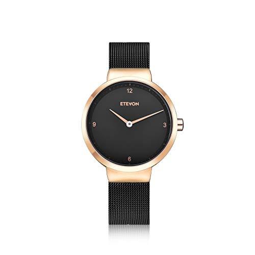 ETEVON Women's Quartz Analog Watch with Stainless Steel Plating Band and Mesh Bracelet Waterproof, Elegant Dress Wrist Watches for Women - Black