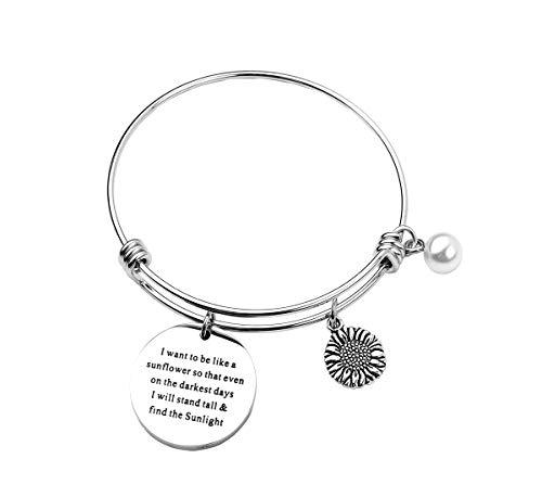 RUNXINTD Sunflower Charm Bracelet Sunflower Jewelry I Want to be Like a Sunflower Floral Bangle Bracelet Inspirational Gift for Womens,Girls (Silver Bangle) ()