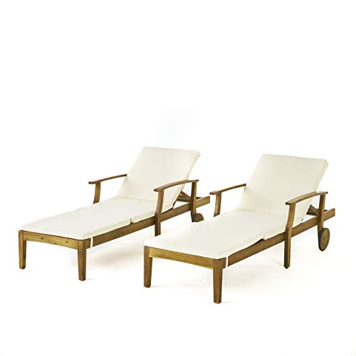 Great Deal Furniture Daisy Outdoor Teak Finish Chaise Lounge with Cream Water Resistant Cushion (Set of 2)