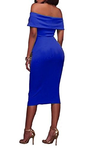 Collar Blue Coolred Shoulder Color Word Strapless Dresses Cold Sexy Women Pure Dark SSxqPwEr