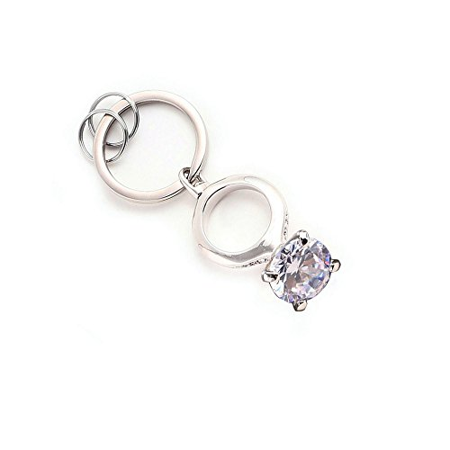 Lady Key Ring - MILESI Shining Crystal Diamond Ring Car Keychain Women's Fashion Accessory Mother's Gift (White Diamond)