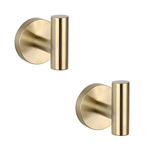 Bathroom Brushed Gold Coat Hook SUS 304 Stainless Steel Single Towel/Robe Clothes Hook for Bath Kitchen Contemporary Hotel Style Wall Mounted 2 Pack,
