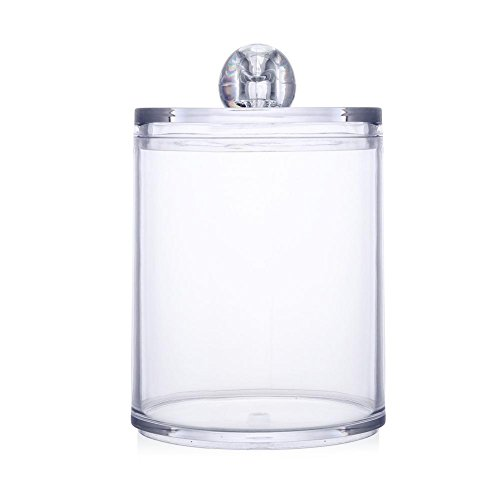 Acrylic Multifunctional Round Qtip Container Cosmetic Makeup Cotton Pad Organizer Jewelry Storage Box Holder and Candy Jars (Swab Storage Case)