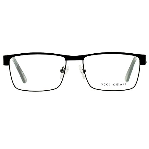 OCCI CHIARI Men Rectange Optical Eyewear Frames With Clear Lenses(Black/Grey, 54)