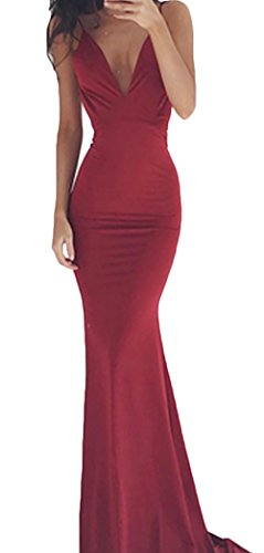 Senza Cocktail Lunghi Giovane Abiti Spalla Fit Vestito Costume Eleganti Rosso Collo Lungo Senza Sera Slim Da Cerimonia Abito Donna Schienale Moda Maniche V Nuda Da qUxTtUF0