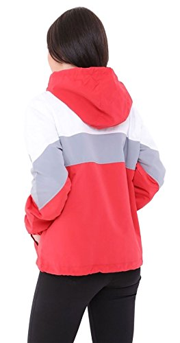 Windbreaker Fashions Long Islander Sleeve Block Coat Top Hooded S Ladies Jacket Color Fancy XL Womens Red zSqqCdw