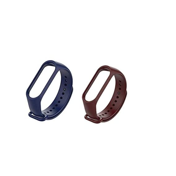 Liddu Wristband Band Straps for Xiaomi Mi 3 & Mi 4 Bands (Combo Pack, Pack of 2) (Navy Blue, Brown, Xiaomi Mi Band 4