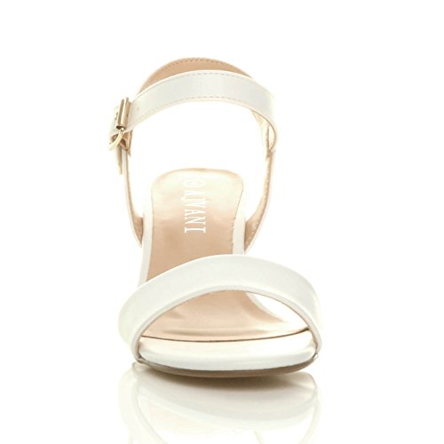 Ajvani Womens Ladies mid Low Block Heel peep Toe Ankle Strap Strappy Party Sandals Size White Matt Pfkngc