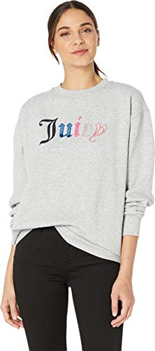 Juicy Couture Women's Juicy Mixed Gothic French Terry Pullover Heather Cozy Large