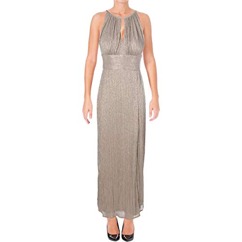 R & M Richards Womens Halter Metallic Evening Dress Gold 10 from R&M Richards