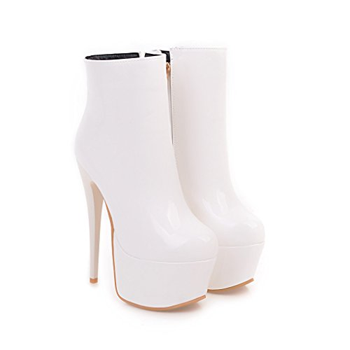 Womens High Side Stilettos Rongzhi Boots Ankle Platform White Booties Zip Round Toe Heels Super wExUqd4B