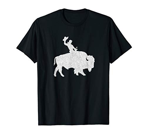 Distressed Guy on a Buffalo T-shirt for Men Women or Kids