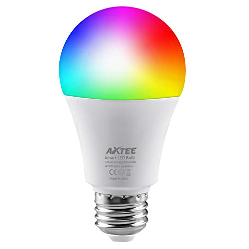 AXTEE 1 Light WiFi, Smart Led Bulbs Dimmable Multicolored RGB, No Hub Required, Works with Amazon Echo Alexa and Google Home (7W 600LM) (1 Pack), 7 W