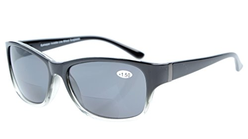 Eyekepper Bi-Focal Sunshine Readers Fashion Bifocal Sunglasses Black-Clear/Grey Lens +2.50 Bifocal Sun Readers Glasses