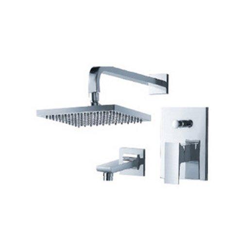 Líquido grifos f2140bn-t Jovian presión equilibrio tina y llave de la ducha con lluvia alcachofa de ducha, níquel...