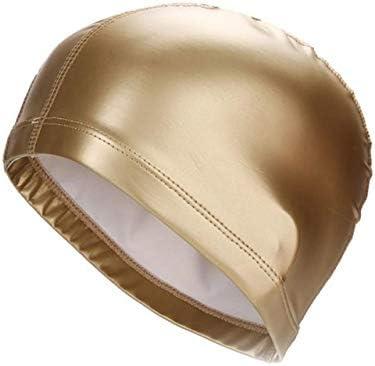 Piore Badehüte PU Beschichtungskappen Erwachsene Schwimmen wasserdicht schützen Ohren Badekappe langes Haar Badehut Badekappe, golden, Einheitsgröße