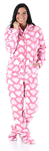 Set Lounge Heart (SleepytimePjs Women's Sleepwear Fleece Hooded Footed Onesie Pajamas Pink Hearts – (ST17-W-3035-LRG))