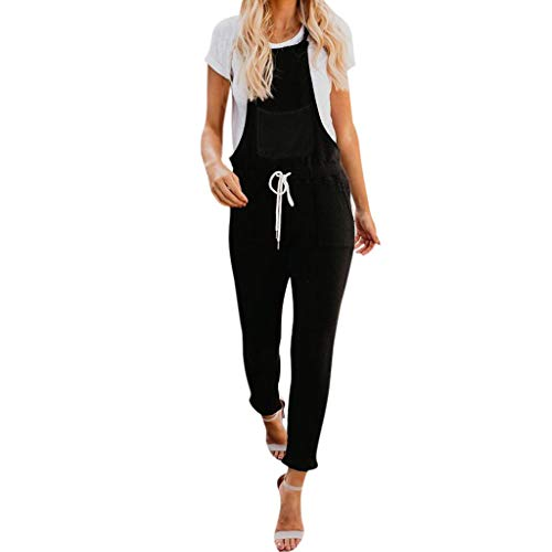 Womens Ladies Sleeveless Dungarees Slim Jumpsuit Casual Trousers Overall Pants&ANJUNIE(Multicolor,M)