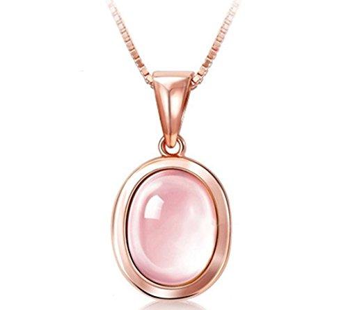 Diamondwize Easter Sale! Vintage Accent Oval Pink Quartz 18k Rose Gold Pendant ()
