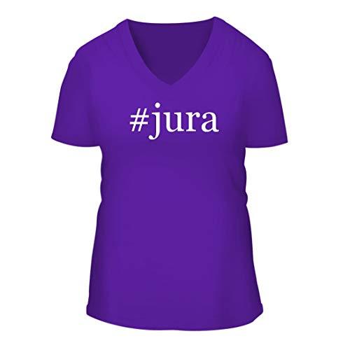 #jura - A Nice Hashtag Women's Short Sleeve V-Neck T-Shirt Shirt, Purple, Large