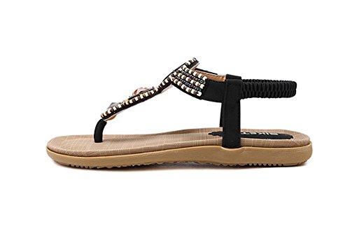 Sandalias de las mujeres planas de los zapatos sandalias de cuentas , black , US6.5-7 / EU37 / UK4.5-5 / CN37