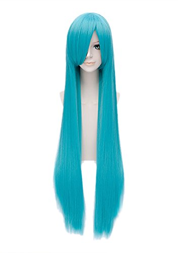Bisca Mulan Cosplay Wig Fairy Tail Anime Long Straight Blue Costume Wig 100cm (Mulan Blue Dress)