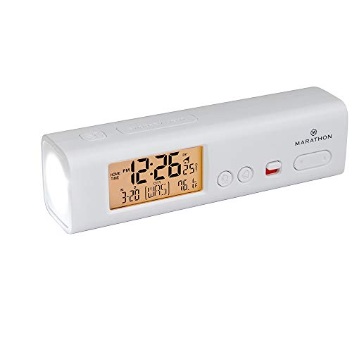 Marathon CL030045-WH World Travel Atomic Alarm Clock with LED Flashlight - Emergency Clock, Camp Clock, Hotel Clock, Home Disaster Kit Clock (White)