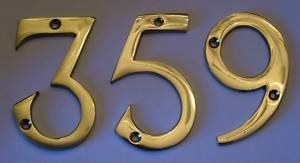 Solid Polished Brass 75mm Polished House Front Door Numbers OriginalForgery
