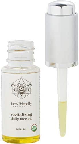 Face Oil USDA Certified Organic Nutrient & Vitamin Rich Revitalizing Daily Facial Oil by BeeFriendly Skincare, Helichrysum, Frankincense, Tamanu, Grapeseed, Sandalwood, Kukui, Raw Honey .5 oz